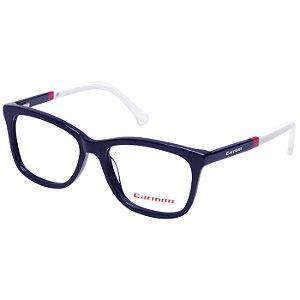Óculos de Grau Carmim CRM41146 Azul Escuro com Branco Acetato Médio