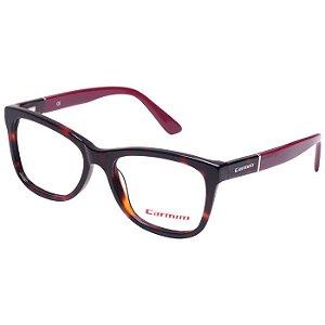 Óculos de Grau Carmim CRM41133 Marrom Demi com Bordô Acetato Médio