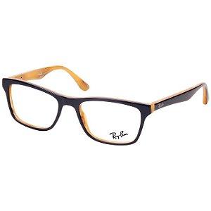 Óculos de Grau Ray Ban RX5279 Azul Marinho com Textura Interna Acetato Médio