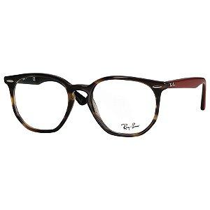 Óculos de Grau Ray Ban RX7151 Hexagonal Verde Havana e Marrom