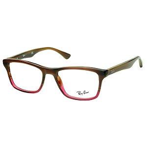 Óculos de Grau Ray Ban RX5279 Acetato Marrom Mesclado e Vermelho