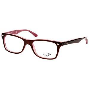 Óculos de Grau Ray Ban RX5228 Feminino Marrom Brilho e Rosa Translúcido Acetato Pequeno
