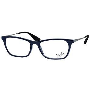 Óculos de Grau Feminino Ray Ban RX7053L Azul Brilho e Prata