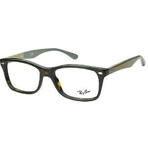 Óculos de Grau Ray Ban RX5228 Marrom Demi com Marrom e Cinza Acetato Médio