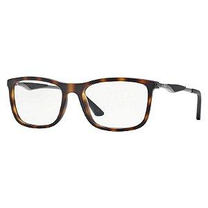 Óculos de Grau Ray Ban RX7029 Acetato Marrom Demi Fosco e Prata