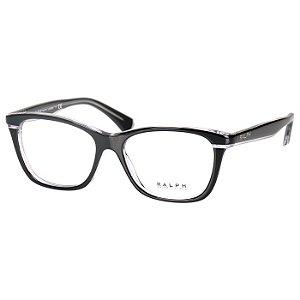 Oculos Ralph Lauren de Grau RA7090 Preto Brilho com Transparente Feminino