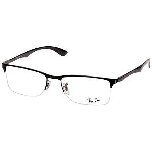 Óculos de Grau Ray Ban RX8413 Metal Preto Fosco e Cinza Médio
