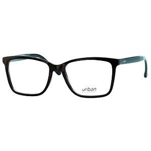 Óculos de Grau Pequeno Urban 5021 Preto Brilho com Petróleo