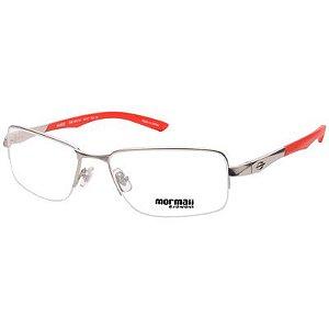 Óculos de Grau Titânio Mormaii MO1532 Prata Fosco com Vermelho