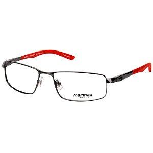 Óculos de Grau Mormaii MO1529 Titânio Preto Brilho com Vermelho