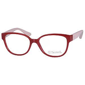 Armação de Óculos Feminino Tecnol TN3039 Vermelho e Bege Brilho
