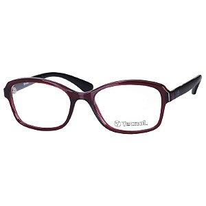 Óculos de Grau Feminino Tecnol TN3049 Vermelho Translúcido e Preto