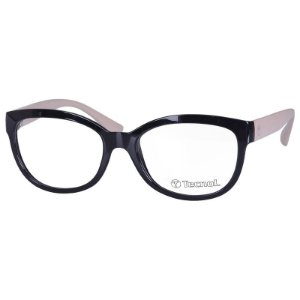Óculos de Grau Tecnol TN3046 Preto e Bege Brilho Feminino