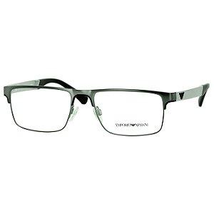 Armação de Óculos Masculina Empório Armani EA1075 Grande Metal Verde com Prata Fosco