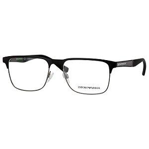 Armação de Óculos Masculino Empório Armani Metal Preto Fosco EA1061 Médio