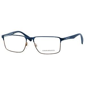 Óculos de Grau Masculino Emporio Armani EA1046 Metal Azul Fosco com Marrom Médio