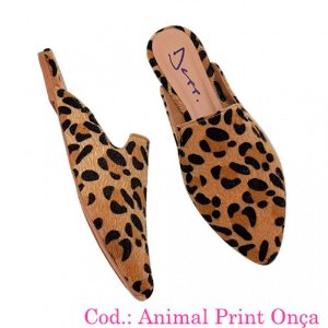 69528806da Mule Animal Print Bico Fino Sapato Feminino Depp Calçados.
