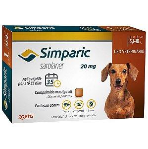 simparic 20mg - antipulgas cães 5,1 á 10kg