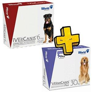 Ivercanis 6mg - Vermicanis - 30kg, Kit antipulgas sarnicida carrapaticida - Vermifugo