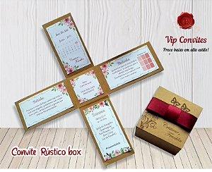 Convite Rústico Box  (MÍNIMO 10 UNIDADES)