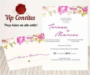 Convite Floral Rosas T&M