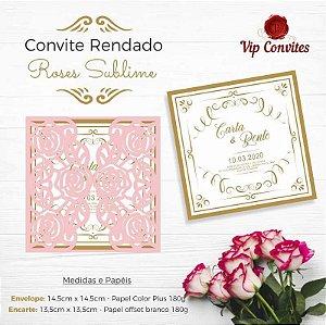 CONVITE CASAMENTO RENDADO ROSES