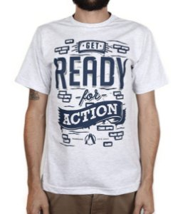 Camiseta Action Clothing Built To Win BRANCO MESCLA