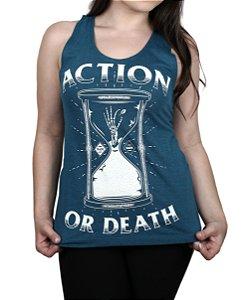 Regata Feminina Action Clothing Action Or Death  AZUL