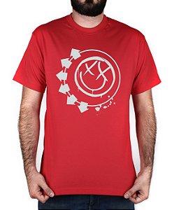 Camiseta blink-182 Smiley Vermelha