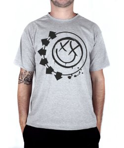 Camiseta blink-182 Smiley Cinza Mescla