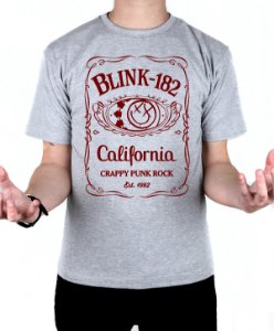 Camiseta blink-182 Jack Daniels Cinza Mescla