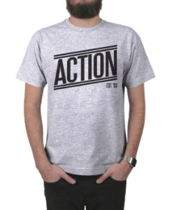 Camiseta Action Clothing Tagless Cinza Mescla