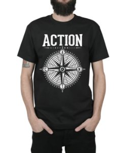 Camiseta Action Clothing Compass Preta