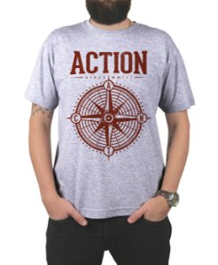 Camiseta Action Clothing Compass Cinza Mescla