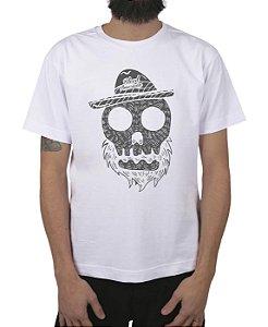 Camiseta Bleed American Beard Skull Branca