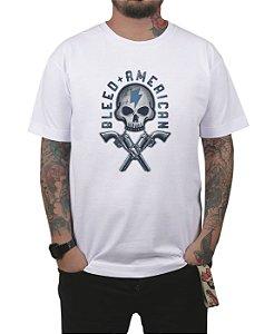 Camiseta Bleed American Skull Walker Branca