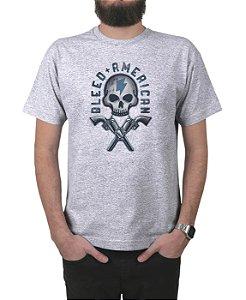 Camiseta Bleed American Skull Walker Cinza Mescla