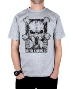 Camiseta Bleed American Gas Mask Cinza Mescla