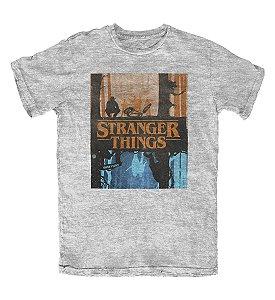 Camiseta Stranger Things The Upside Down Cinza Mescla