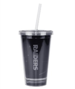 Copo com Canudo NFL - Oakland Raiders