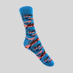 Meia Really Socks Camo Azul Claro