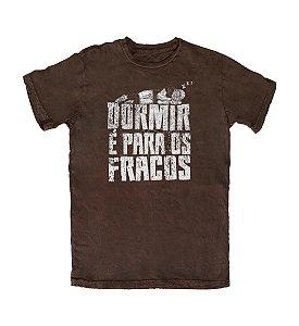 Camiseta Everaldo Marques Dormir é para os Fracos Marrom