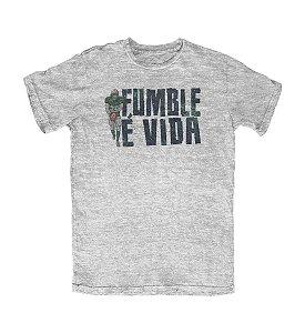 Camiseta Everaldo Marques Fumble É Vida Cinza Mescla