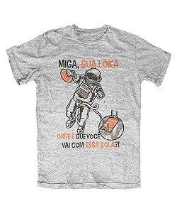 Camiseta Everaldo Marques Miga Sua Lôka Cinza Mescla