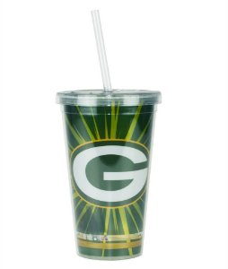 Copo com Canudo NFL - Green Bay Packers