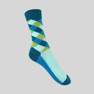 Meia Really Socks Patchwork Azul