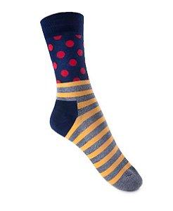 Meia Really Socks Dot Stripe Vermelho