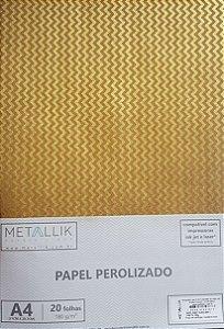 Papel kraft perolado A4 Mini Chevron Ouro