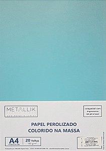 Papel perolado A4 colorido na massa liso Azul Céu