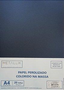Papel perolado A4 colorido na massa liso Azul Noite
